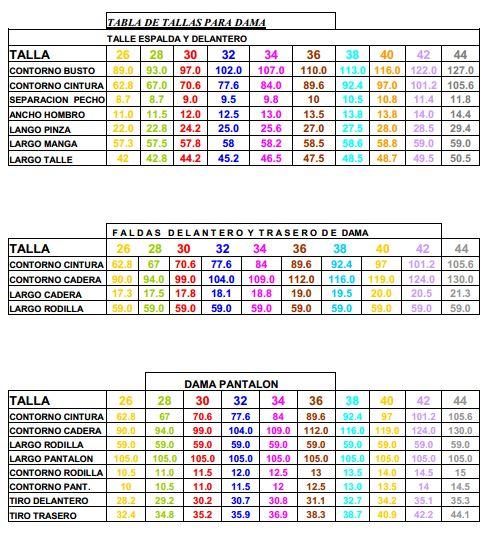 Con las tablas de medidas puedes seleccionar facilmente la talla que te corresponde.