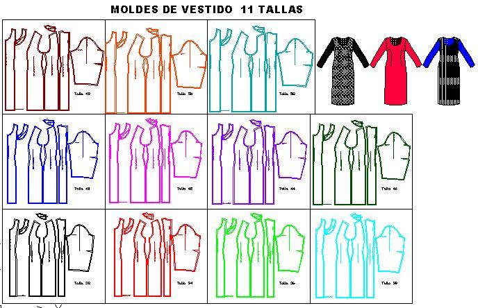 Moldes de vestido clásico de dama en 11 tallas