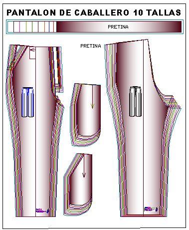 Plantillas de moldes de pantalón clásico de hombre