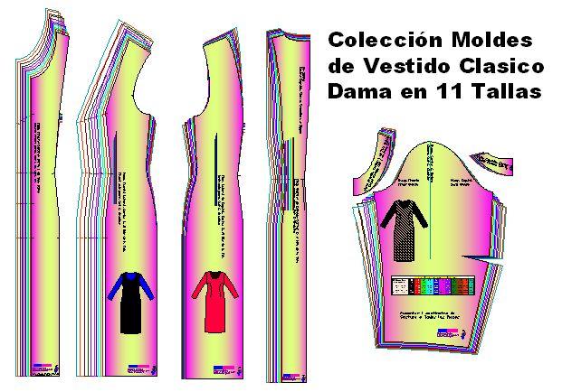 Plantillas de Vestido Clásico de vestir de dama 11 tallas