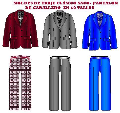Moldes de traje clasico de caballero saco pantalón en 10 tallas