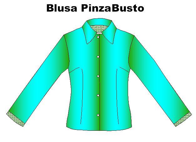 Moldes de blusa con pinza al talle y en busto