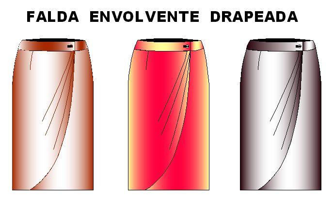 Molde de falda envolvente con drapeado frente en 11 tallas
