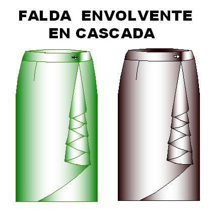 Moldes de Falda Modelo Envolvente en Cascada Talla 32