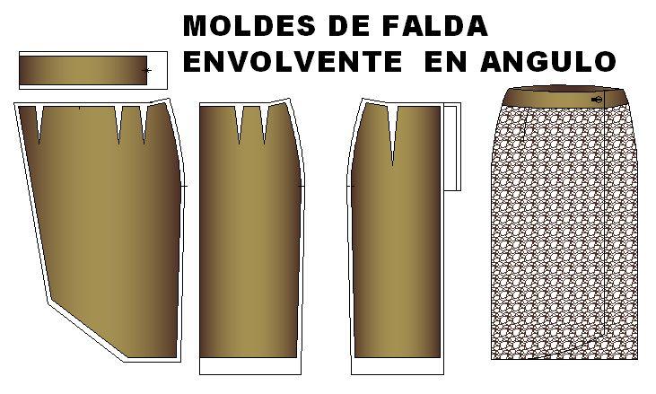 Moldes de falda estilo envolvente en angulo.