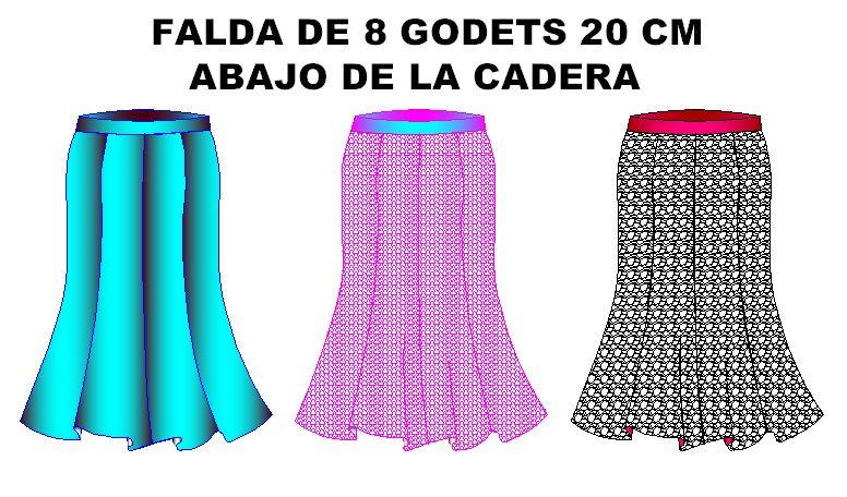 Tallaje de moldes de falda con 8 godets o gores 20 cm abajo bajo cadera