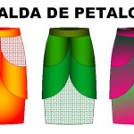 Molderia de costura de faldas de petalos