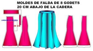 moldes falda 8 godets 20cm bajo cadera 300x164 Moldes de Falda con 8 Godets o Gores