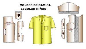 Moldes para confeccionar camisa escolar de niños de 4 a 12 años