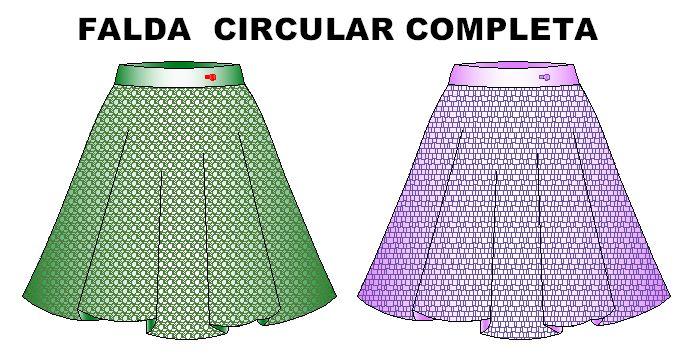 moldes de falda circular completa