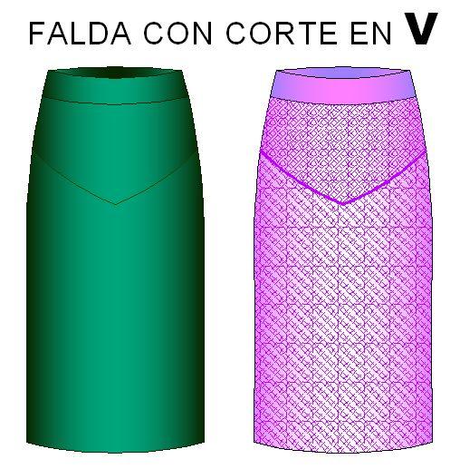 moldes de falda con corte en V