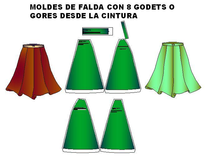 Patronaje de de faldas 8 godets desde cintura