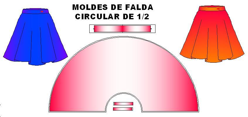 Moldes de falda circular de unmedio