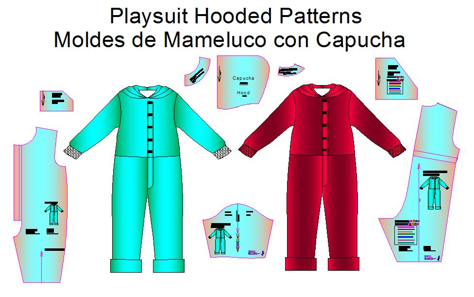 moldes bebes playsuit con capucha