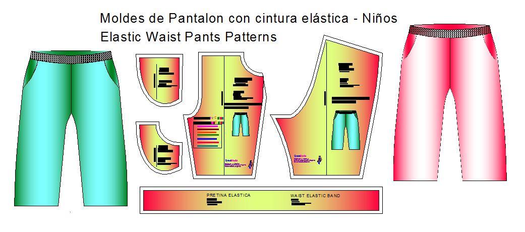 Moldes de pantalón con elástico en cintura