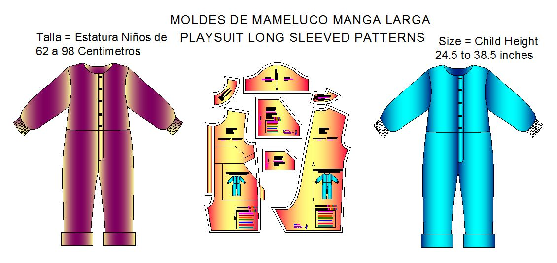 moldes bebes playsuit manga larga