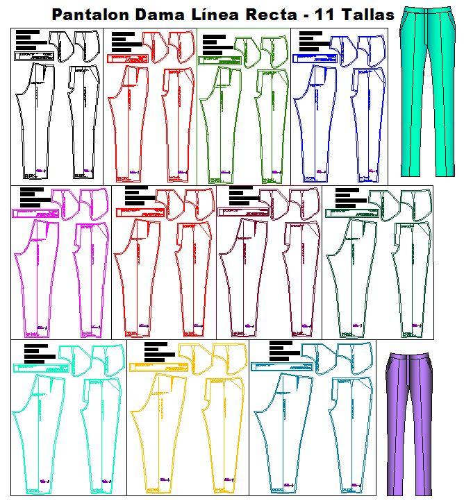 Tallaje de pantalones de dama estilo linea recta
