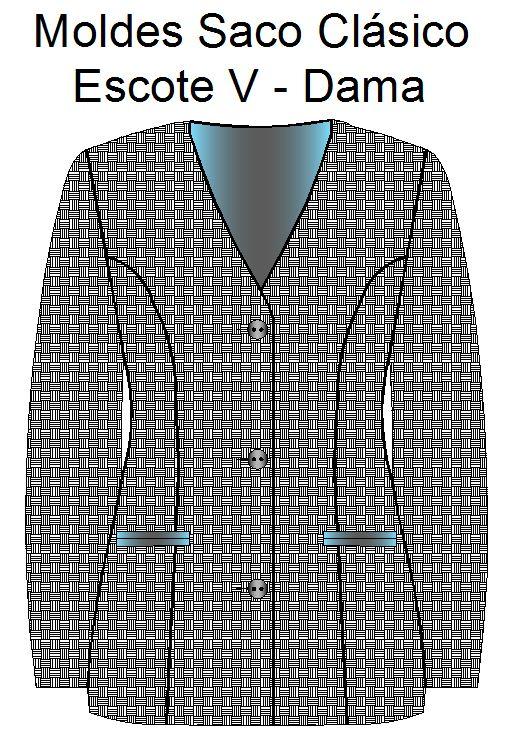 Moldes para costura de saco clasico de dama con escote en V