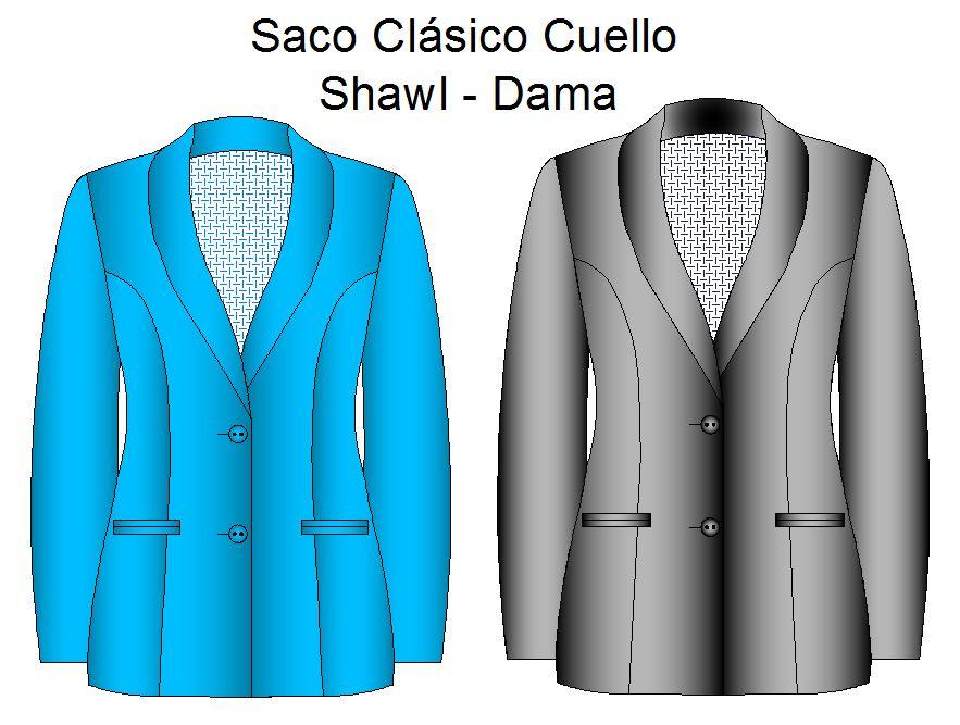 Molderia de sacos modelo clasico shawl de dama