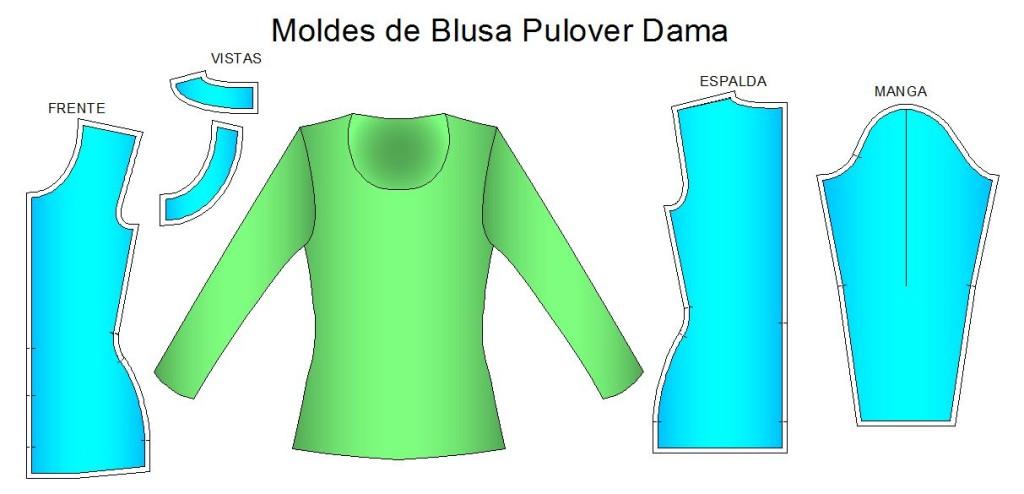 Moldes para confeccion de blusa pulover de dama