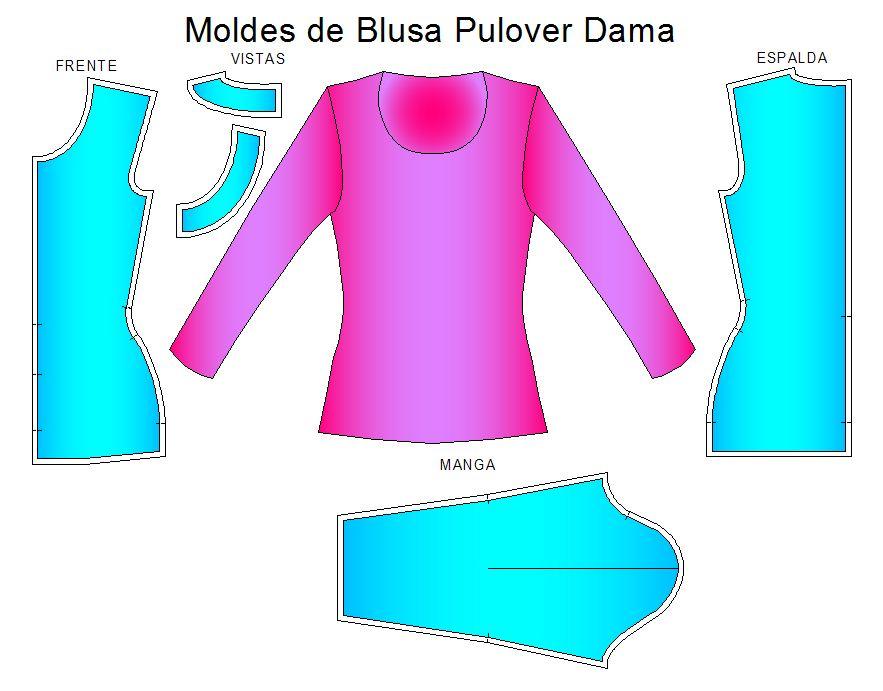 Moldes de blusa tipo pulover de dama con manga larga y cuello redondo