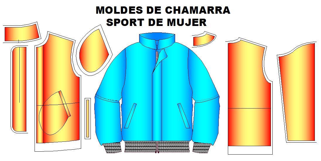 Moldes para fabricar chamarra sport de mujer.