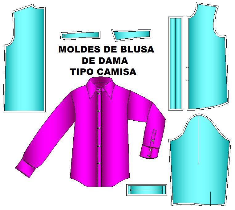 patrones blusa estilo camisa manga larga   Moldes de Ropa y Sistemas ...