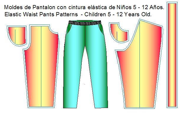 Moldes de pantalon con pretina elastica para niñois.