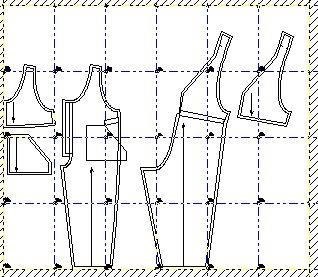 Ejemplo: Mapa de hojas tamaño A4 para armarlas y formar los moldes completos en tamaño real y exacto de corpiño de niños en la talla 4.
