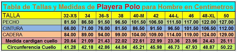 tabla de tallas de la playera polo
