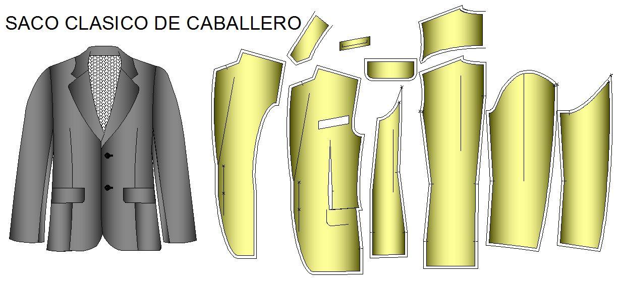 Moldes para confección de saco clásico de vestir de caballero: